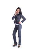 Donna di affari sulla chiamata di telefono mobile fotografie stock