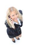 Donna di affari sulla chiamata di telefono mobile fotografie stock libere da diritti
