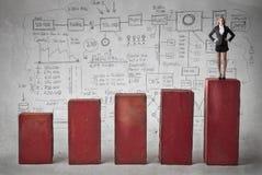Donna di affari sulla cima del grafico Fotografie Stock