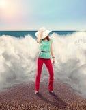Donna di affari sulla spiaggia Fotografie Stock