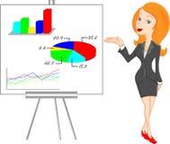 Donna di affari sveglia che dà presentazione Fotografia Stock