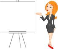 Donna di affari sveglia e segno in bianco Immagine Stock