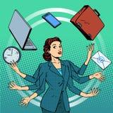 Donna di affari tempo di idea di affari di molte mani illustrazione vettoriale