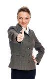 Donna di affari With Thumbs Up Fotografie Stock Libere da Diritti