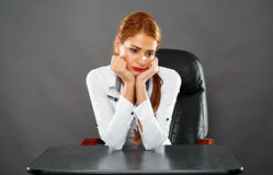 Donna di affari triste Immagini Stock