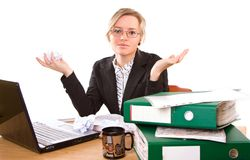 Donna di affari in ufficio Fotografie Stock Libere da Diritti