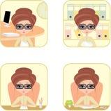 Donna di affari in ufficio. Quattro icone. vettore. illustrazione vettoriale