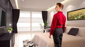 Donna di affari in un hotel Fotografie Stock Libere da Diritti