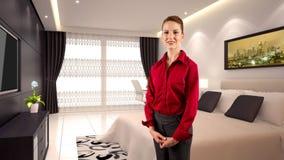 Donna di affari in un hotel Immagini Stock