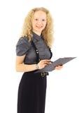 Donna di affari in un vestito con i appunti su un bianco Fotografia Stock Libera da Diritti
