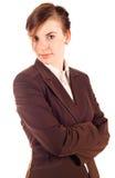 Donna di affari in vestito marrone Immagini Stock Libere da Diritti