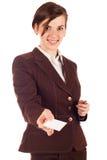 Donna di affari in vestito marrone Immagine Stock Libera da Diritti
