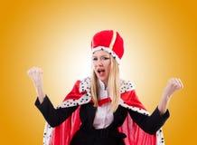 Donna di affari in vestito reale contro la pendenza Immagine Stock