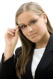 Donna di affari in vetri Immagine Stock