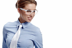 Donna di affari in vetri Immagini Stock