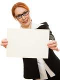 Donna di affari in vetri con i capelli rossi Immagine Stock Libera da Diritti