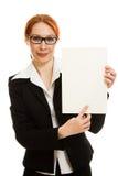 Donna di affari in vetri con i capelli rossi Immagini Stock Libere da Diritti