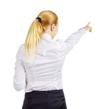 Donna di affari Woman Pointing Immagini Stock Libere da Diritti
