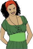 Donna di afro che smilling Fotografia Stock