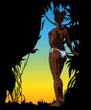 Donna di afro nuda Modello di disegno di vettore Immagini Stock