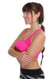 Donna di allenamento di forma fisica agli sport che prepara cercare isolato Fotografia Stock