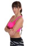 Donna di allenamento di forma fisica agli sport che prepara ritratto isolato Fotografie Stock