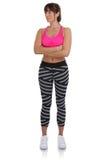 Donna di allenamento di forma fisica agli sport che si prepara cercando ente completo po Immagine Stock