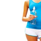 Donna di allenamento su bianco Fotografia Stock