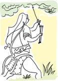 Donna di Amazon nella giungla illustrazione di stock