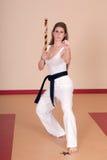 Donna di arti marziali Fotografia Stock