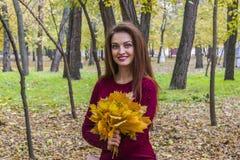 Donna di autunno sui precedenti delle foglie fotografie stock libere da diritti