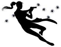 Donna di azione di scontro a fuoco Immagine Stock