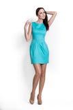 Donna di Beautifull in vestito blu Immagine Stock Libera da Diritti