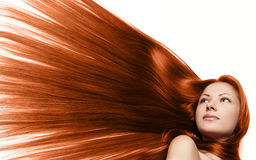 Donna di bellezza. capelli lunghi Fotografie Stock Libere da Diritti
