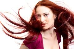 Donna di bellezza con capelli giusti Fotografia Stock Libera da Diritti