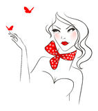 Donna di bellezza con la farfalla Fotografia Stock Libera da Diritti