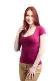 Donna di bellezza nel colore rosa Immagine Stock