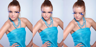 Donna di bellezza in tre pose Immagini Stock