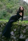 Donna di bellezza in vestito Immagini Stock