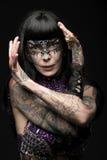 Donna di carnevale con stile di scintillio Immagini Stock