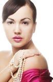 Donna di clamore con la perla Immagini Stock Libere da Diritti