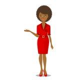 Donna di colore africana nel rosso Immagini Stock Libere da Diritti
