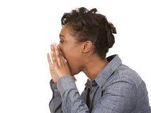 Donna di colore che grida Fotografie Stock