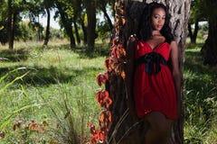 Donna di colore graziosa all'esterno Immagine Stock