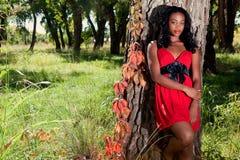 Donna di colore graziosa all'esterno Fotografie Stock