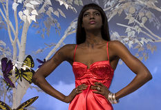 Donna di colore nel colore rosso Fotografie Stock Libere da Diritti