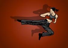 Donna di combattimento su priorità bassa bianca Royalty Illustrazione gratis