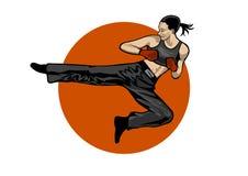 Donna di combattimento su priorità bassa bianca Illustrazione Vettoriale