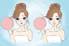 Donna di cura di pelle del fumetto illustrazione di stock