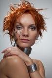 Donna di cyber del ritratto di modo dello studio Fotografie Stock Libere da Diritti